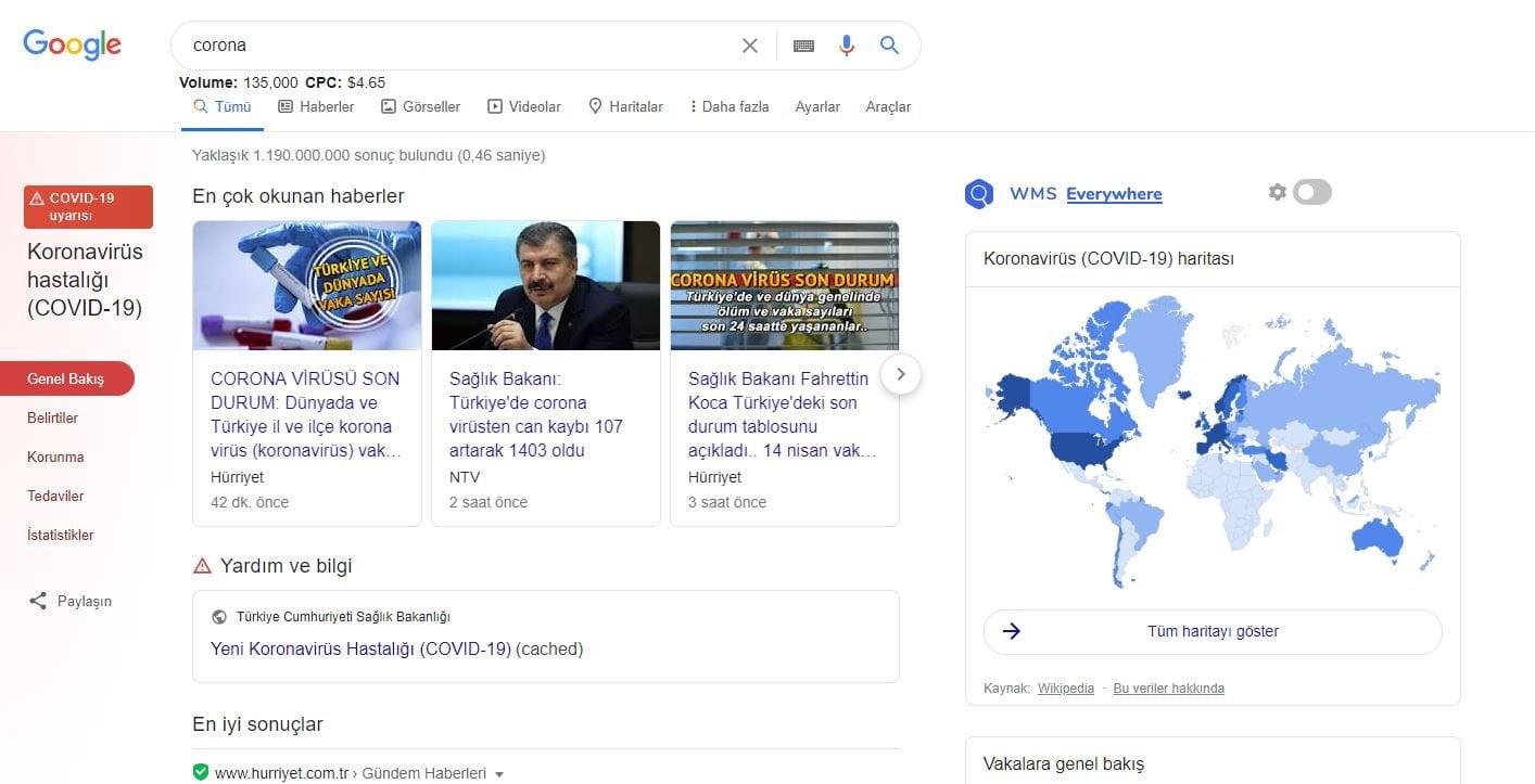 google  coronavirüs bilgilendirme sayfası https://huglero.com