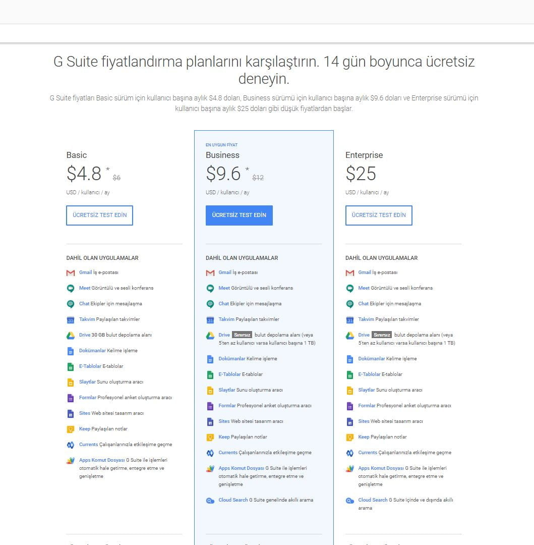 G Suite'in üç ana sürümünün maliyeti infografik https://huglero.com