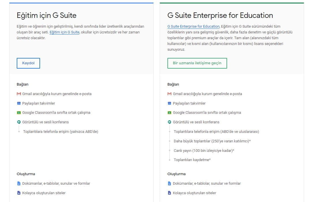 G Suite Education ile Basic arasındaki farklar