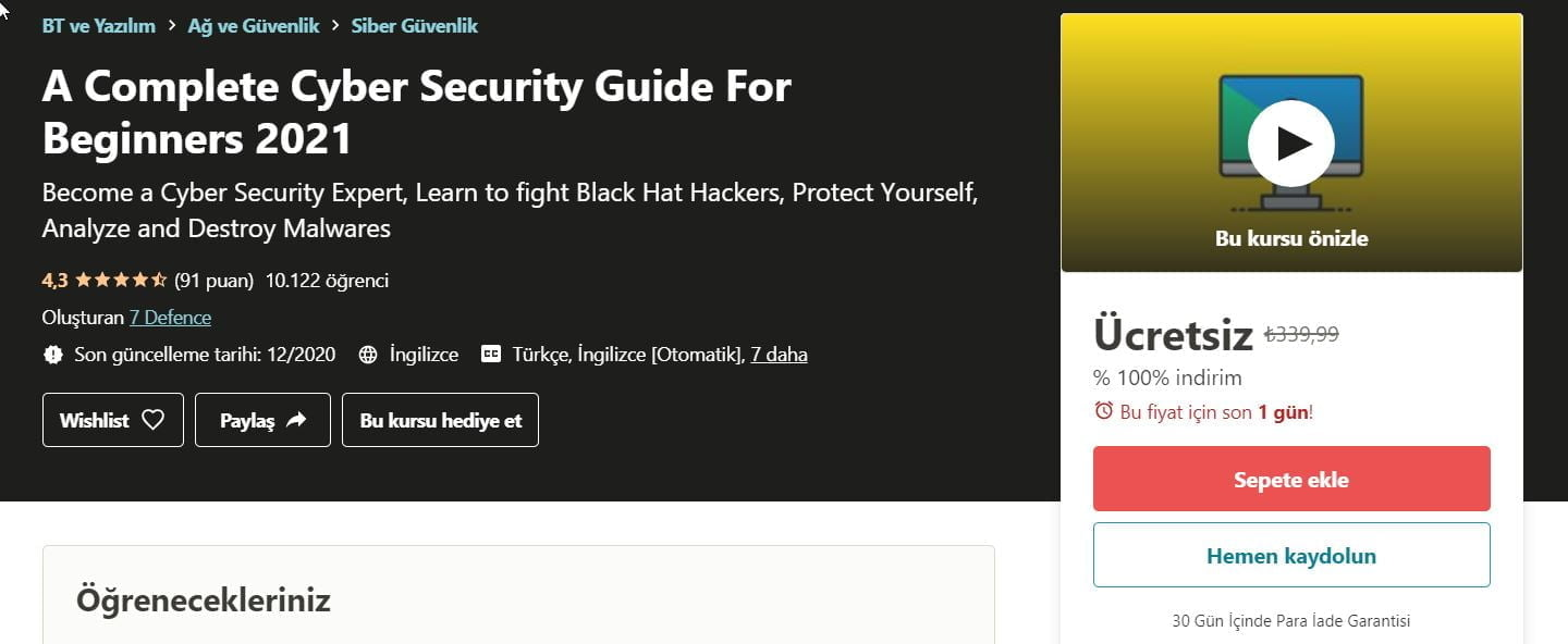 Yeni Başlayanlar İçin Eksiksiz Bir Siber Güvenlik Rehberi 2021- Udemy ücretsiz kupon | A complete cyber security guide for beginners 2021 100 discount udemy coupon code https://huglero.com