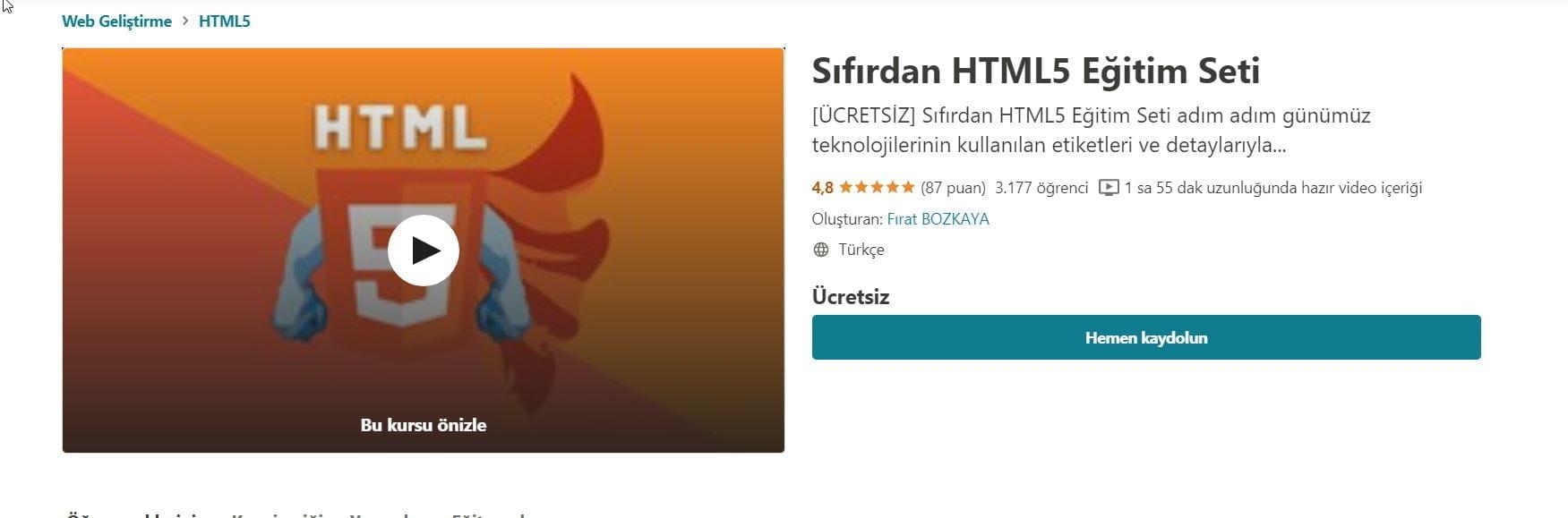 Sıfırdan HTML5 Eğitim Seti ücretsiz Udemy kuponu ocak 2021 https://huglero.com