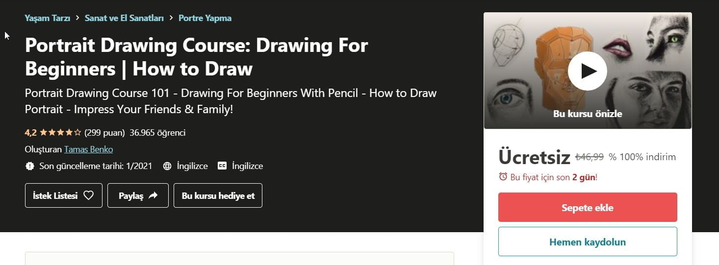 Portre Çizim Kursu: Yeni Başlayanlar İçin Çizim | Nasıl Çizim Yapılır ücretsiz Udemy kupon | Portrait drawing course - drawing for beginners - How to draw free udemy course coupon Jan 2021 https://huglero.com
