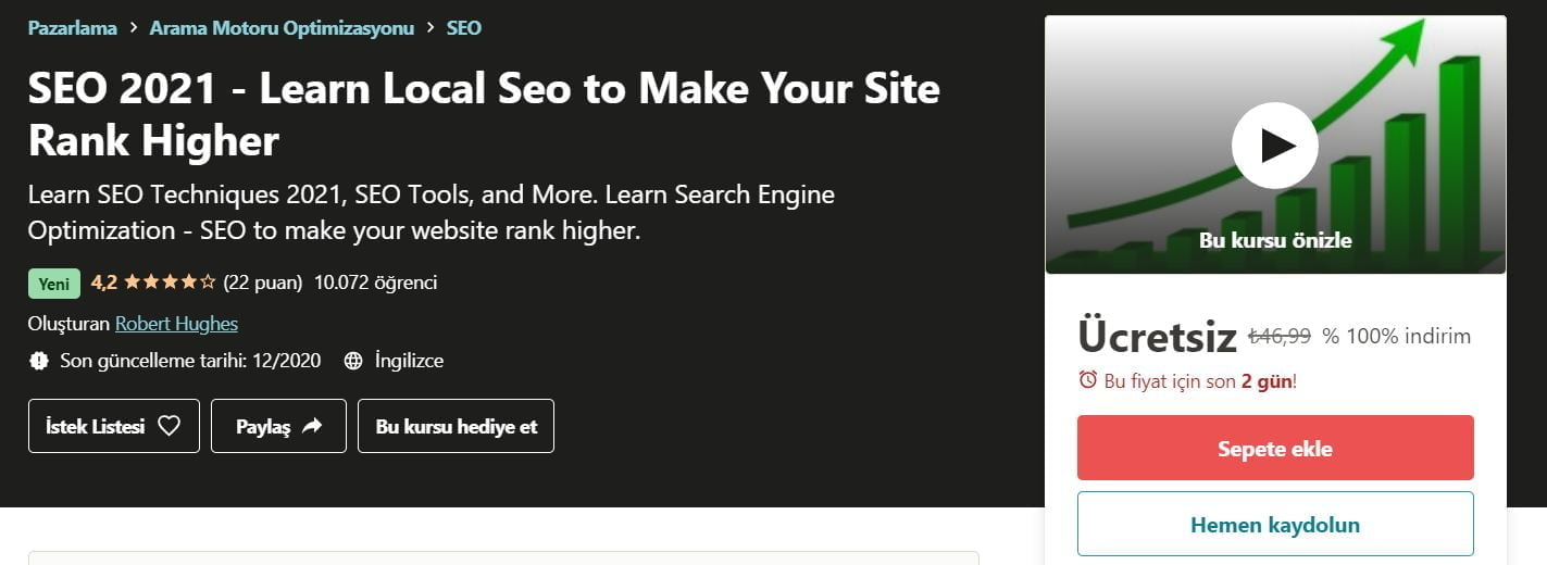 SEO 2021 - Sitenizin Sıralamasını Yükseltmek için Yerel Seo Kursu ücretsiz kupon Udemy | SEO 2021 Learn local seo to make your site rank higher free udemy course coupon https://huglero.com