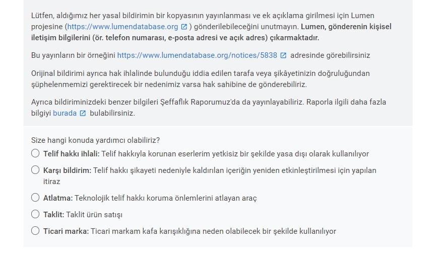 İçererik Çalan Siteyi Google Arama'dan kaldırma https://huglero.com